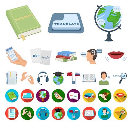 Traduttore e linguista cartoon,icone piatte nella raccolta di set per il design. Interprete simbolo d'archivio web di vettore. Vettoriali