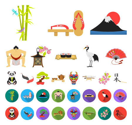 Country Japan cartoon,flat icons in set collection for design.Japan and landmark vector symbol stock web illustration.
