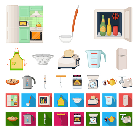 Kitchen equipment cartoon,flat icons in set collection for design. Kitchen and accessories vector symbol stock web illustration.