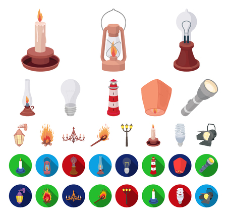 Light source cartoon,flat icons in set collection for design. Light and equipment vector symbol stock web illustration.