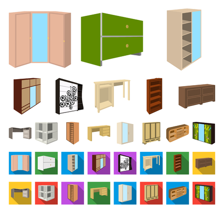Bedroom furniture cartoon,flat icons in set collection for design. Modern wooden furniture isometric vector symbol stock web illustration.