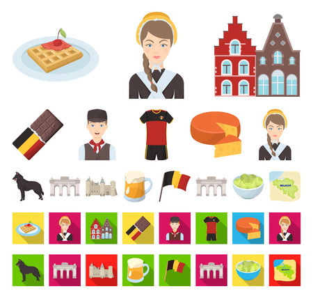 Country Belgium cartoon,flat icons in set collection for design.Travel and attractions Belgium vector symbol stock web illustration.