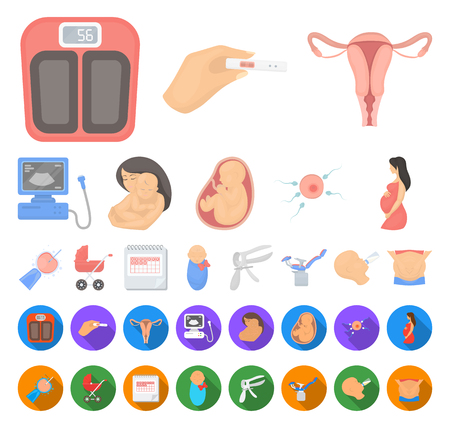 Woman and pregnancy cartoon,flat icons in set collection for design. Gynecology and equipment vector symbol stock web illustration.