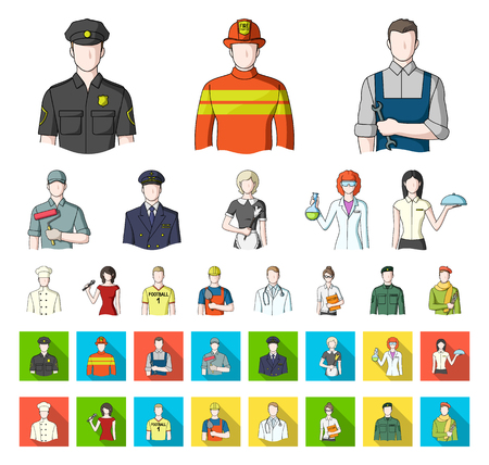 People of different professions cartoon,flat icons in set collection for design. Worker and specialist vector symbol stock web illustration.