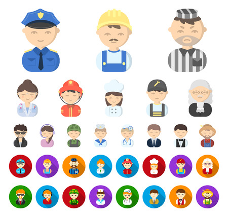 People of different professions cartoon,flat icons in set collection for design. Worker and specialist vector symbol stock web illustration. Ilustração