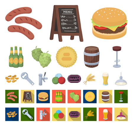 Pub, interior and equipment cartoon,flat icons in set collection for design. Alcohol and food vector symbol stock web illustration.