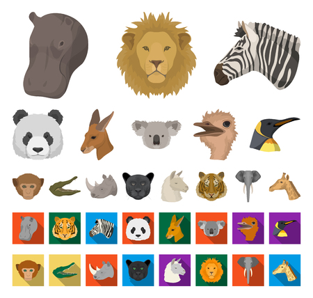 Wild animal cartoon,flat icons in set collection for design. Mammal and bird vector symbol stock web illustration.