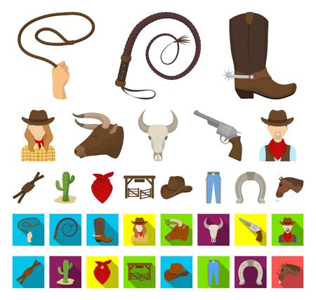 Rodeo, Wettbewerbskarikatur, flache Ikonen in der Setsammlung für Design. Cowboy- und Ausrüstungsvektorsymbolvorrat-Netzillustration.