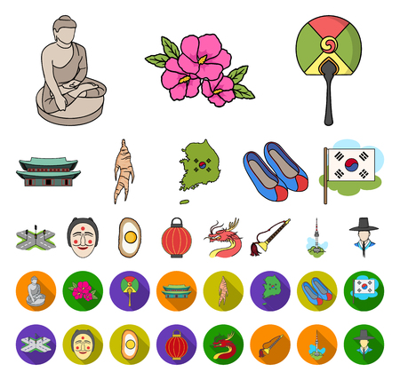 Country South Korea cartoon,flat icons in set collection for design.Travel and attraction vector symbol stock web illustration.