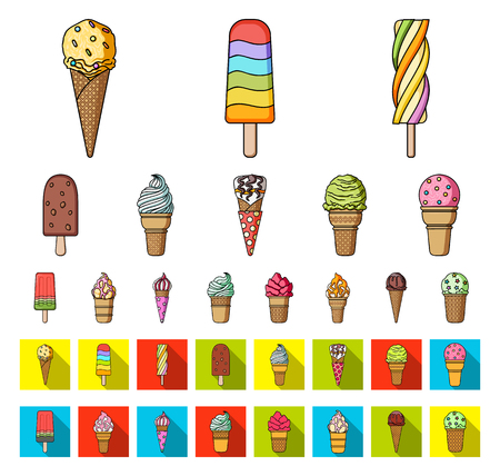 Different ice cream cartoon,flat icons in set collection for design. Dessert and sweetness vector symbol stock web illustration.