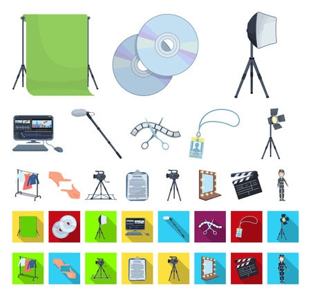 Making a movie cartoon,flat icons in set collection for design. Attributes and Equipment vector symbol stock web illustration.