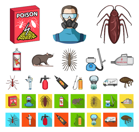 Pest, poison, personnel and equipment cartoon,flat icons in set collection for design. Pest control service vector symbol stock web illustration. Illustration