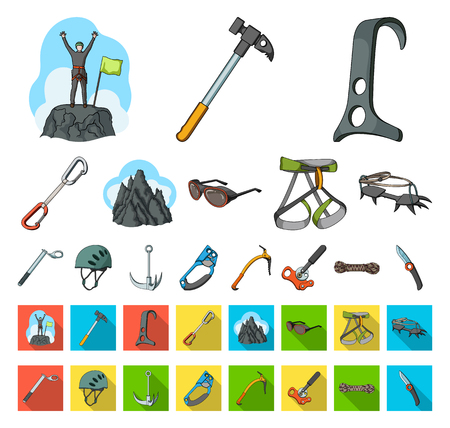 Mountaineering and climbing cartoon,flat icons in set collection for design. Equipment and accessories vector symbol stock web illustration.