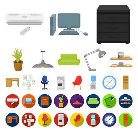 Interior of the workplace cartoon,flat icons in set collection for design. Office furniture vector symbol stock web illustration. 矢量图像