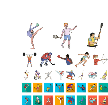 Different kinds of sports cartoon,flat icons in set collection for design. Athlete, competitions vector symbol stock web illustration. Illustration