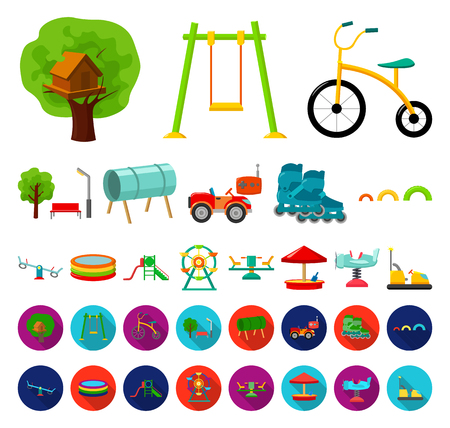 Playground, entertainment cartoon,flat icons in set collection for design. Attraction and equipment vector symbol stock web illustration.