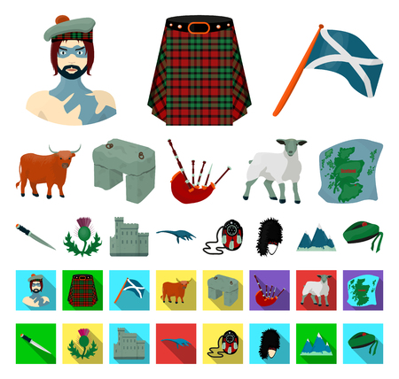 Country Scotland cartoon,flat icons in set collection for design. Sightseeing, culture and tradition vector symbol stock web illustration. Illustration