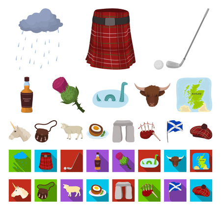 Country Scotland cartoon,flat icons in set collection for design. Sightseeing, culture and tradition vector symbol stock web illustration. Stock Illustratie