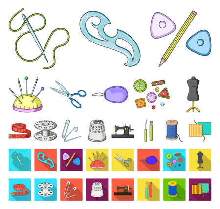Sewing, atelier cartoon,flat icons in set collection for design. Tool kit vector symbol stock web illustration.
