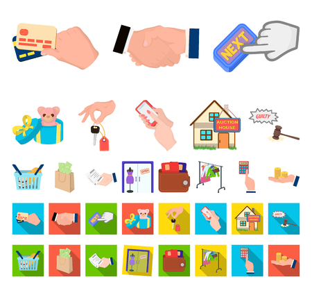 E-commerce and business cartoon,flat icons in set collection for design. Buying and selling vector symbol stock web illustration.