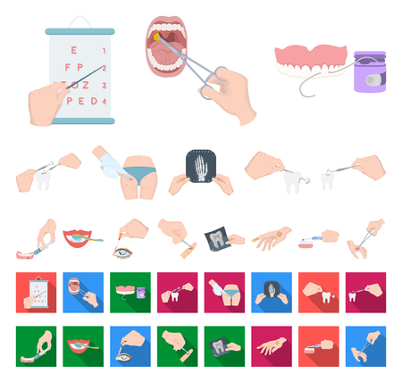 Manipulation by hands cartoon,flat icons in set collection for design. Hand movement in medicine vector symbol stock illustration.