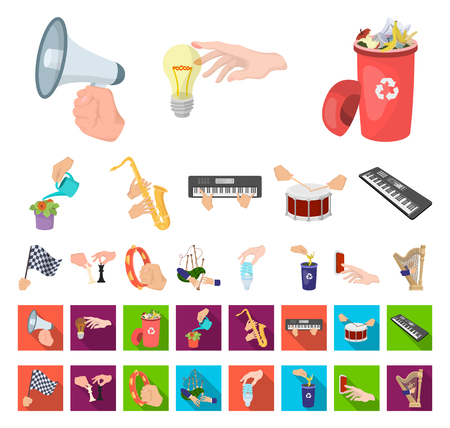 Manipulation by hands cartoon,flat icons in set collection for design. Hand movement vector symbol stock web illustration.