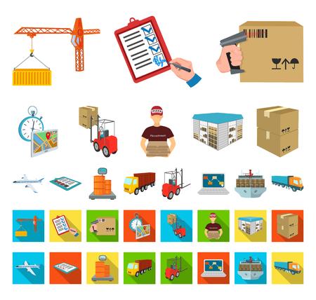 Logistics and delivery cartoon,flat icons in set collection for design. Transport and equipment isometric vector symbol stock web illustration.