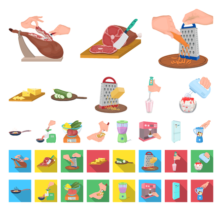 Cooking food cartoon,flat icons in set collection for design. Kitchen, equipment and tools vector symbol stock web illustration.