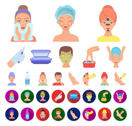 Skin care cartoon,flat icons in set collection for design. Face and body vector symbol stock web illustration. Ilustracja