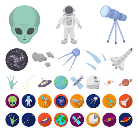Space technology cartoon,flat icons in set collection for design.Spacecraft and equipment vector symbol stock web illustration.