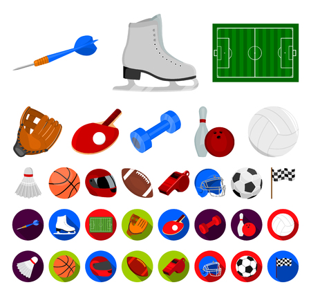 Different kinds of sports cartoon,flat icons in set collection for design. Sport equipment vector symbol stock web illustration.