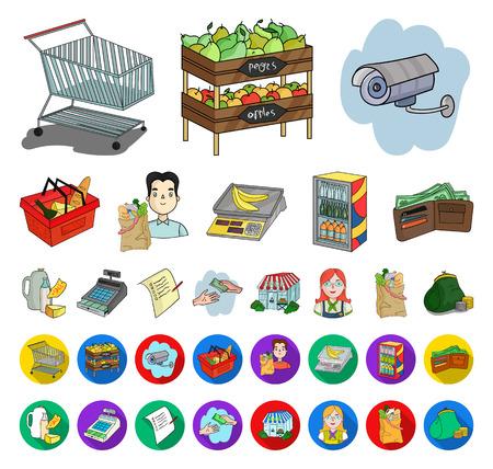 Supermarket i sprzęt kreskówka, płaskie ikony w kolekcji zestaw do projektowania. Zakup produktów wektor symbol sieci web ilustracji. Ilustracje wektorowe