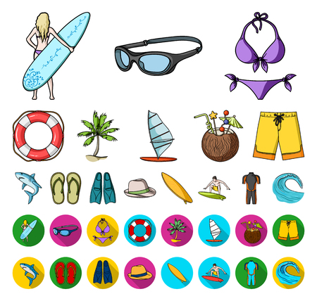 Surfing and extreme cartoon,flat icons in set collection for design. Surfer and accessories vector symbol stock web illustration. Illustration