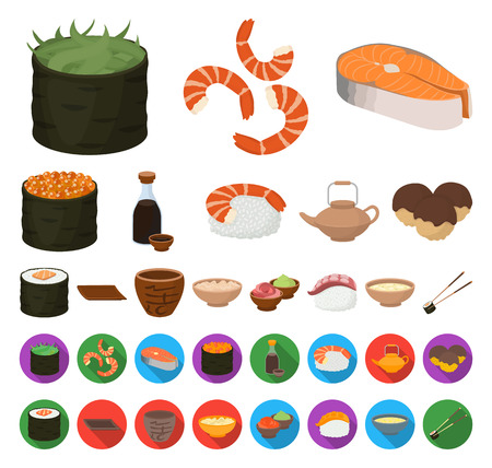 Sushi and seasoning cartoon,flat icons in set collection for design. Seafood food, accessory vector symbol stock web illustration.