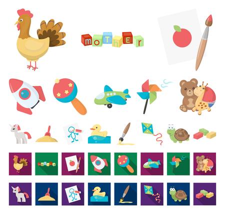 Kinderspielzeugkarikatur, flache Symbole in der Satzsammlung für Design. Spiel und Spielerei Vektor Symbol Lager Web-Illustration.