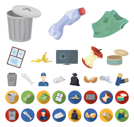 Garbage and waste cartoon,flat icons in set collection for design. Cleaning garbage vector symbol stock web illustration.