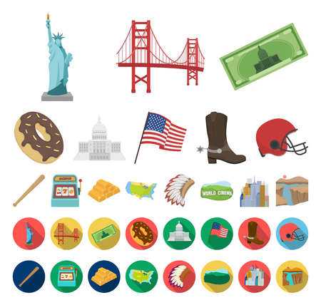 USA country cartoon,flat icons in set collection for design.Travel and attractions vector symbol stock web illustration.