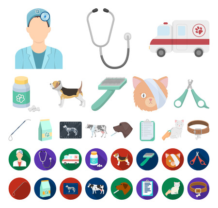 Veterinary clinic cartoon,flat icons in set collection for design. Treatment of a pet vector symbol stock web illustration. Stock Illustratie