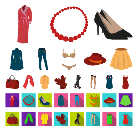 Womens Clothing cartoon,flat icons in set collection for design.Clothing Varieties and Accessories vector symbol stock web illustration.