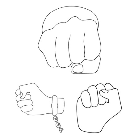 Vector design of fist and punch sign. Set of fist and hand stock vector illustration.