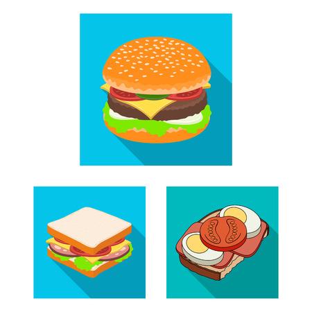 Objet isolé du logo sandwich et wrap. Collection de symbole boursier sandwich et déjeuner pour le web.