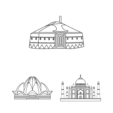 Vector design of and town icon. Set of and house stock vector illustration.