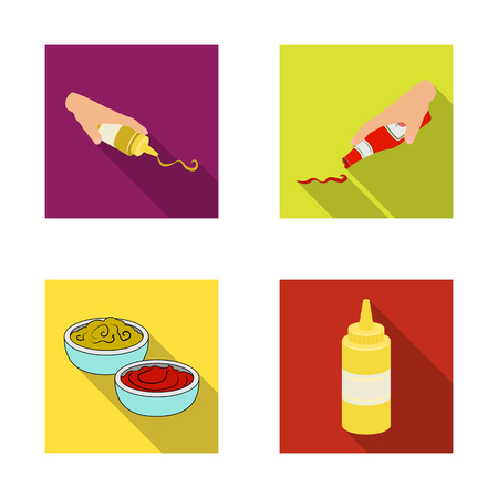 Vector illustration of sauce and condiment icon. Collection of sauce and bowl stock vector illustration.