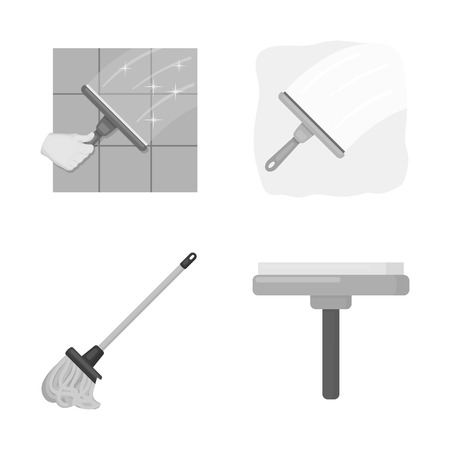 Vector illustration of mop and broom sign. Set of mop and cleaner vector icon for stock.