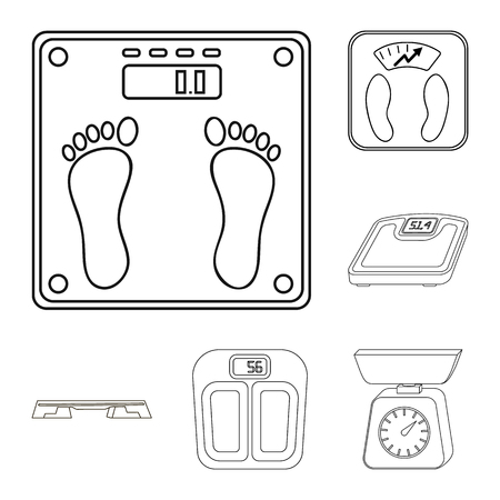 Isolated object of weight and lab symbol. Collection of weight and kitchen vector icon for stock.