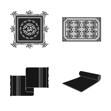 Vector design of carpet and persian icon. Set of carpet and border stock vector illustration.