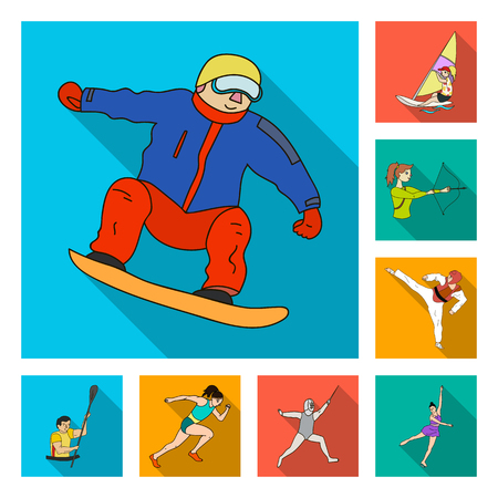 Different kinds of sports flat icons in set collection for design. Athlete, competitions bitmap symbol stock web illustration.