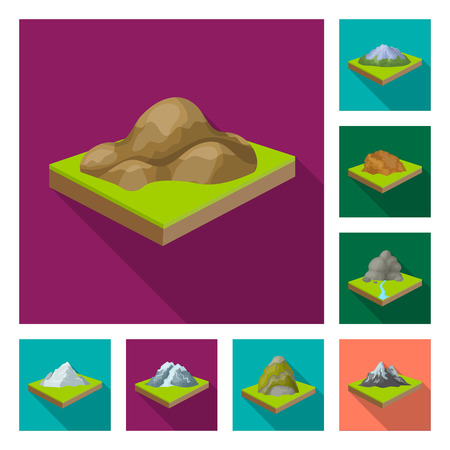Mountains, massive flat icons in set collection for design. The surface of the earth bitmap isometric symbol stock web illustration.