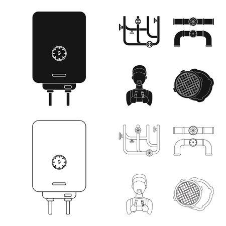 Boiler, plumber, ventils and pipes.Plumbing set collection icons in black,outline style bitmap symbol stock illustration web.