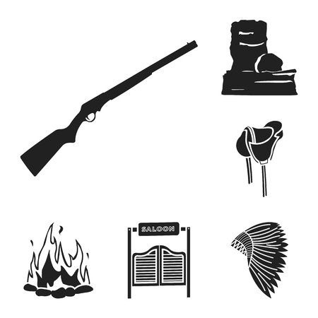 Attributes of the wild west black icons in set collection for design.Texas and America bitmap symbol stock web illustration. Stock Photo